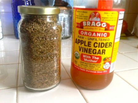 Get some raw Apple Cider Vinegar and dried thyme (I buy my thyme in bulk because it is ridiculously cheap). Pour 1/4 cup A.C.V. into a microwaveable glass jar (ie. Pyrex) and heat for 30 seconds.