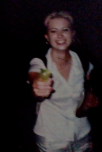 Feisty, awkward 18 year old Jamie. That's apple juice in that pint bottle. Probably. Hey look!! Water gun!!
